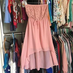 Dresses & Skirts - Nude/blush tube top lace hi-lo dress